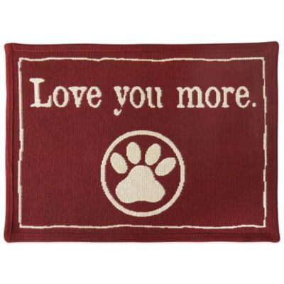 P.B. Paws by Park B. Smith Love You More 19-Inch x 13-Inch Tapestry Pet Mat in Cinnabar