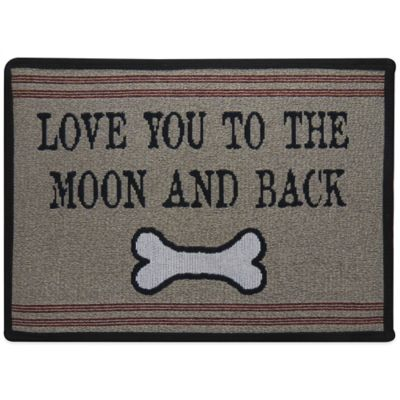 P.B. Paws by Park B. Smith Love You To The Moon and Back 27-Inch x 19-Inch Tapestry Pet Mat in Taupe