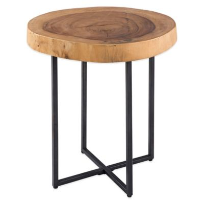 Robin Raw Wood Table with Metal Base
