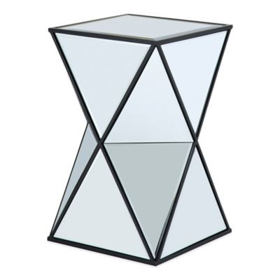 Glam Angular Mirror Accent Side Table