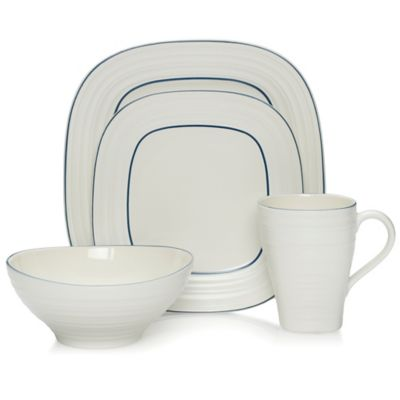 Mikasa® Swirl Square Banded 4-Piece Place Setting in Blue