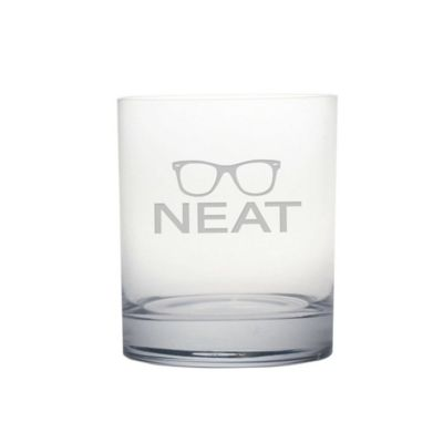 "Susquehanna Glass Etched Novelty Barware ""NEAT"" Rocks Glass"