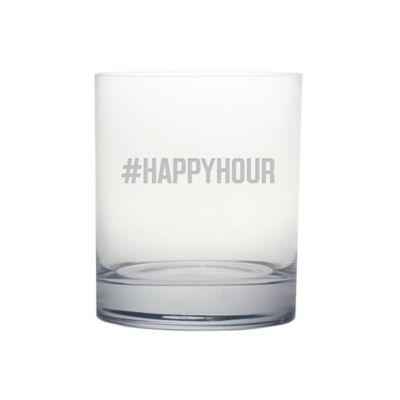 "Susquehanna Glass Etched Novelty Barware ""#HAPPYHOUR"" Rocks Glass"
