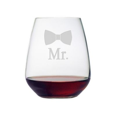 "Mr. Bowtie"" Stemless Wine Glass"