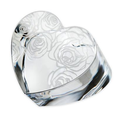 Monique Lhuillier Waterford® Sunday Rose Crystal Heart Paperweight