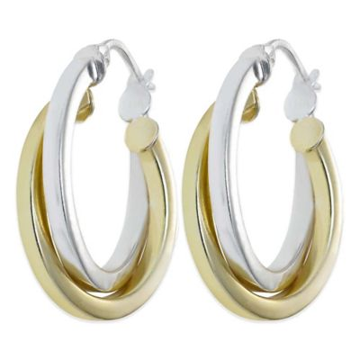 18K Gold-Plated and Sterling Silver 1-Inch Thick Twist Hoop Earrings
