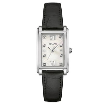 Bulova Ladies' 22.5mm Diamond-Accented Rectangular Watch in Stainless Steel with Black Leather Strap