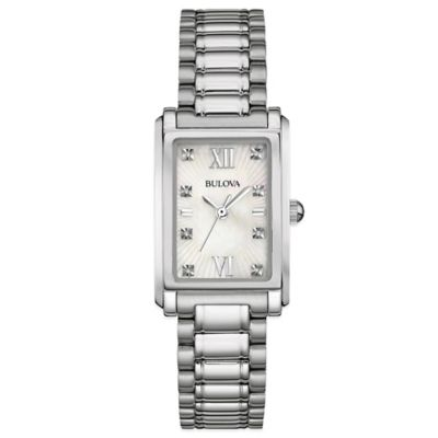 Bulova Ladies' 22.5mm Diamond-Accented Mother of Pearl Dial Rectangular Watch in Stainless Steel
