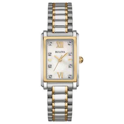 Bulova Ladies' 22.5mm Diamond-Accented Mother of Pearl Dial Watch in Two-Tone Stainless Steel