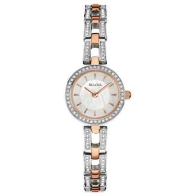 Bulova Ladies' 23mm Crystal-Accented Mother of Pearl Dial Watch in Rose Goldtone Stainless Steel