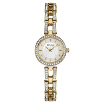 Bulova Ladies' 23mm Crystal-Accented Mother of Pearl Dial Watch in Goldtone Stainless Steel