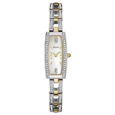 Bulova Ladies' 13mm Crystal-Accented Mother of Pearl Dial Watch in Two-Tone Stainless Steel