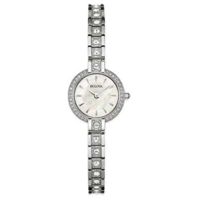 Bulova Ladies' 21mm Crystal-Accented Round Mother of Pearl Dial Watch in Stainless Steel
