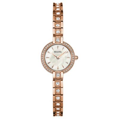 Bulova 21mm Crystal-Accented Round Mother of Pearl Dial Watch in Rose Goldtone Stainless Steel