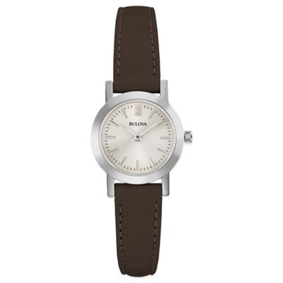 Bulova Classic Ladies' 24mm Dress Watch in Stainless Steel with Dark Brown Leather Strap