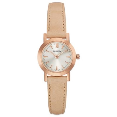 Bulova Classic Ladies' 24mm Dress Watch in Rose Goldtone Stainless Steel with Tan Leather Strap