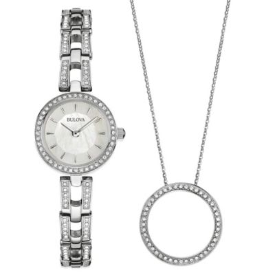 Bulova 23mm Crystal-Accented Watch in Stainless Steel and Crystal Open Circle Pendant Necklace Set
