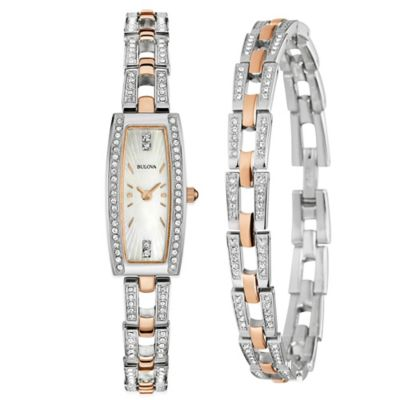 Bulova Ladies' Tonneau Crystal & Mother of Pearl Dial Watch in Stainless Steel w/Bracelet