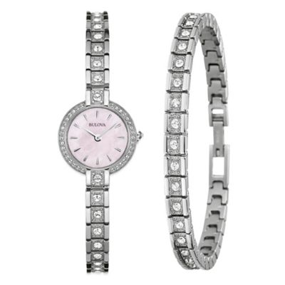 Bulova Ladies' Crystal Accent Pink Mother of Pearl Dial Watch in Stainless Steel w/Tennis Bracelet
