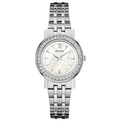 Bulova Crystal Ladies' 29mm Mother of Pearl Dial Watch in Stainless Steel with Alternate Bezel Set