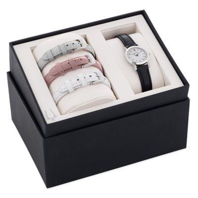 Bulova Ladies' 32mm Mother of Pearl Dial Watch in Stainless Steel with Leather Strap Set