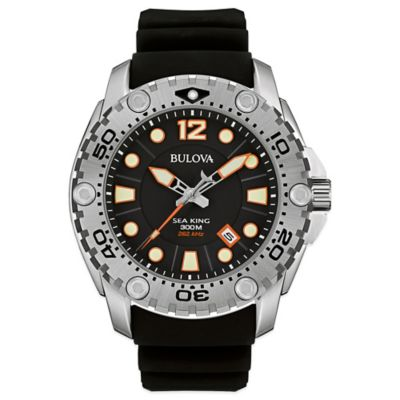 Bulova Sea King Men's 49mm Black Dial Watch in Stainless Steel with Black Silicone Strap