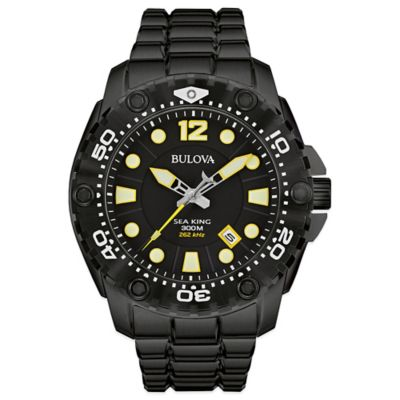 Bulova Sea King Men's 48mm Black Dial Watch in Black Stainless Steel