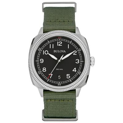 Bulova Military Men's 42mm Black Dial Watch in Stainless Steel with Green Nylon Strap