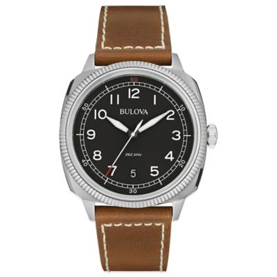 Bulova Military Men's 42mm Black Dial Watch in Stainless Steel with Brown Leather Band