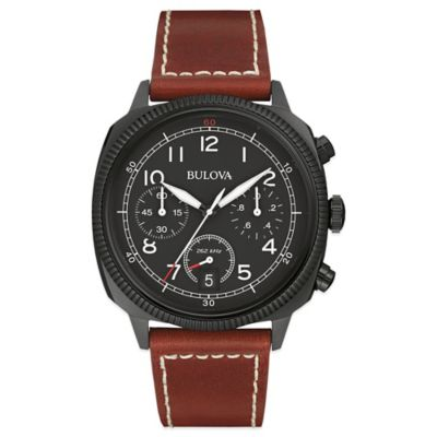 Bulova Military 42.5mm Chronograph Black Dial Watch in Black Stainless Steel with Brown Leather Band
