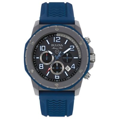 Bulova Marine Star Men's 44mm Black Dial Watch with Navy Silicone Strap
