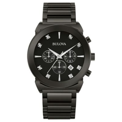 Bulova Men's 42mm Diamond-Accented Black Dial Chronograph Watch in Black Stainless Steel