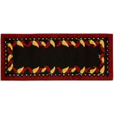 Nourison 54-Inch x 22-Inch Peppers Kitchen Rug in Black