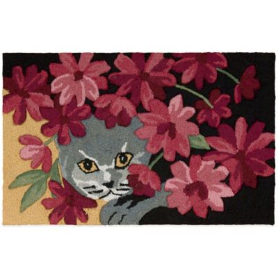 Nourison 32-Inch x 20-Inch Cat Kitchen Rug in Black
