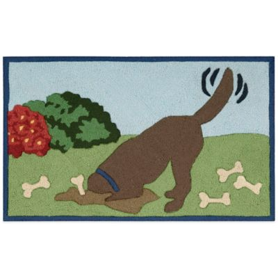 Nourison 33-Inch x 20-Inch Digging Dog Kitchen Rug in Blue