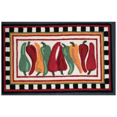 Nourison 33-Inch x 20-Inch Chili Pepper Kitchen Rug in White