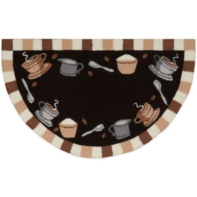 Nourison 32-Inch x 19-Inch Coffee Cups Kitchen Rug in Black