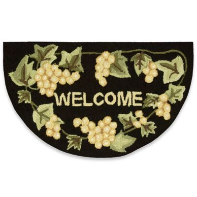 Nourison 32-Inch x 19-Inch Welcome/Grapes Kitchen Rug in Black