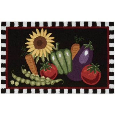 Nourison Vegetables 33-Inch x 20-Inch Kitchen Rug in Black