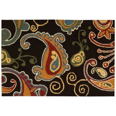 Nourison Paisley 33-Inch x 20-Inch Kitchen Rug in Black