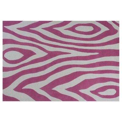KAS Kidding Around Pink Wild Side 3-Foot 3-Inch x 5-Foot 3-Inch Area Rug in Raspberry/Cream