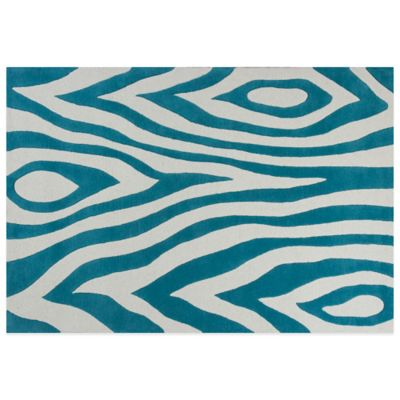KAS Kidding Around Teal Wild Side 3-Foot 3-Inch x 5-Foot 3-Inch Area Rug in Blue/Cream