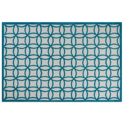 KAS Kidding Around Teal Kaleidoscope 2-Foot x 3-Foot Area Rug in Blue/Cream