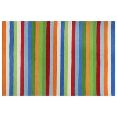 KAS Kidding Around Cool Stripes 2-Foot x 3-Foot Area Rug in Multi