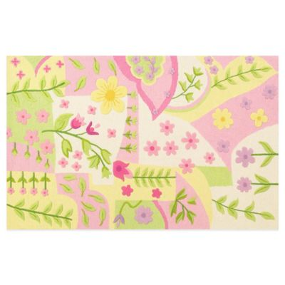 KAS Kidding Around Princess Dreams 5-Foot x 7-Foot 6-Inch Area Rug in Pink/Green/Multi