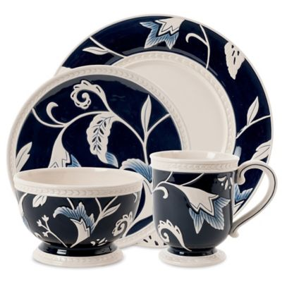 Fitz and Floyd® Bristol Indigo Floral 4-Piece Place Setting