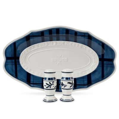 Fitz and Floyd® Bristol Indigo Floral Oval Platter with Salt and Pepper Shakers
