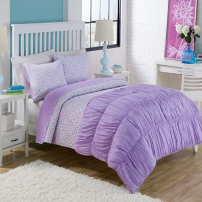 Dena Twin Comforter/Quilt Set in Purple