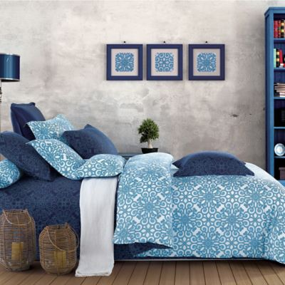 Sherry Kline Illusions Reversible King Duvet Cover Set in Blue