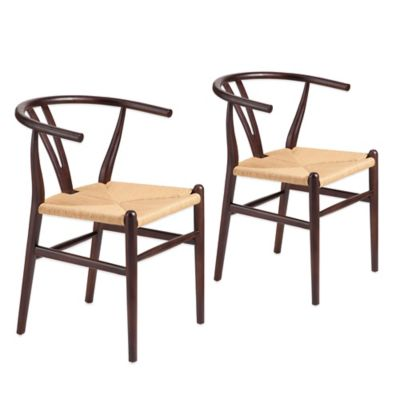 Zuo® Polk Dining Chairs in Dark Walnut with Natural Wicker Seat (Set of 2)